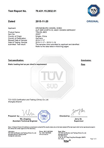 Seite 1 des TÜV SÜD Testberichtes über das Kronenburg XXL Feldbett