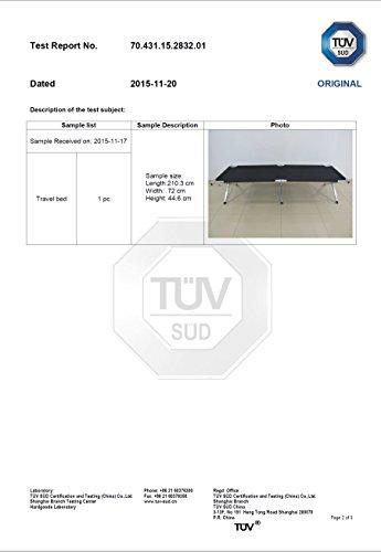 Seite 2 des TÜV SÜD Testberichtes über das Kronenburg XXL Feldbett